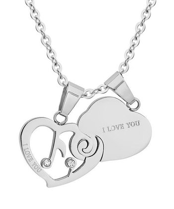 Simulated Diamond 'I Love You' Pendant Necklace