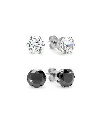 Black & Clear Simulated Diamond Stud Earring Set