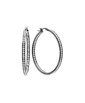 Black Simulated Diamond Hoop Earrings