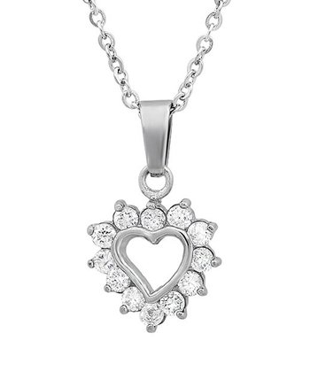Simulated Diamond Heart Pendant Necklace