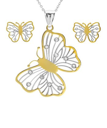 Gold & Simulated Diamond Butterfly Pendant Necklace & Earrings