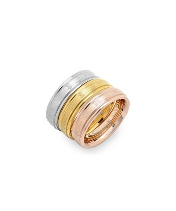 Tricolor Roman Numeral Ring Set