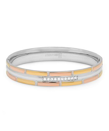 Tricolor Simulated Diamond Bangle