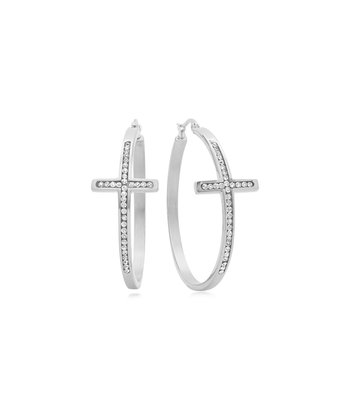 Stainless Steel & Simulated Diamond Cross Hoop Earrings
