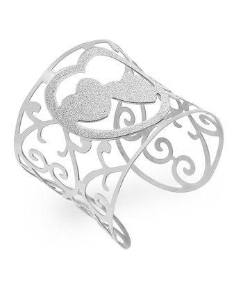 Stainless Steel Glitter Heart Cuff
