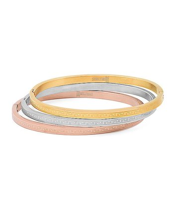Tricolor Greek Key Bangle Set