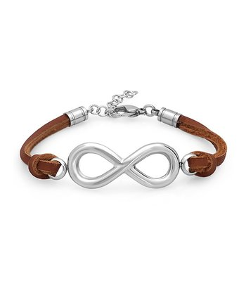 Brown Stainless Steel Infinity Leather Bracelet
