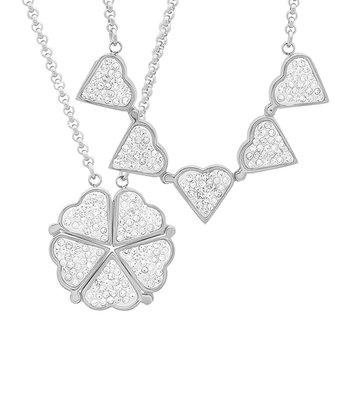 Simulated Diamond Heart/Clover Magnetic Pendant Necklace