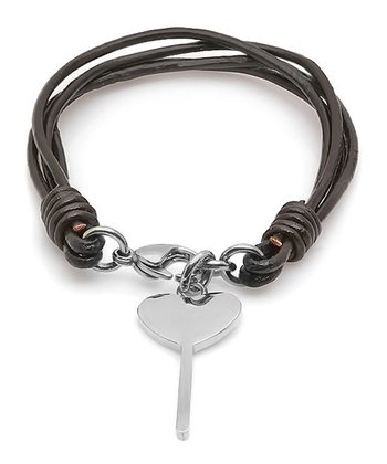 Black Heart Key Leather Bracelet