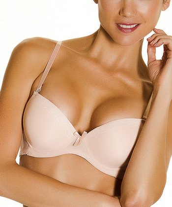 Nude & White Mesh Lace Push-Up Bra - Women & Plus
