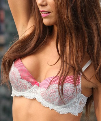 Pink Pin Dot Galloon Lace Wireless Push-Up Bra - Women & Plus