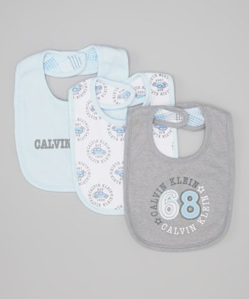 Gray & Light Blue Car Reversible Bib Set