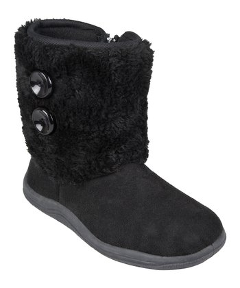 Black Faux Fur Button Boot