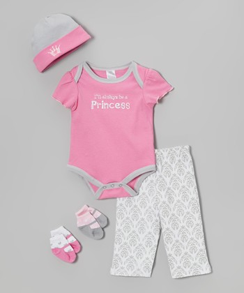 Baby Essentials Pink Princess Five-Piece Layette Set - Infant