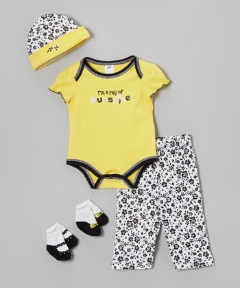Baby Essentials Yellow & Black 'Ray of Sunshine' Five-Piece Layette Set - Infant