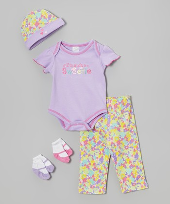 Baby Essentials Purple & Yellow 'Such a Sweetie' Five-Piece Layette Set - Infant