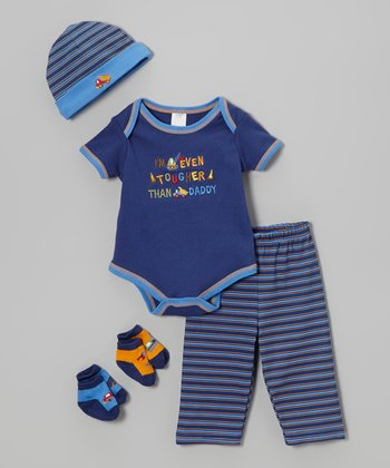 Baby Essentials Blue 'Even Tougher Than Daddy' Five-Piece Layette Set - Infant