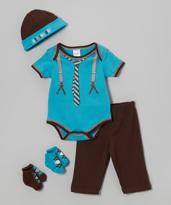 Baby Essentials Turquoise 'Just Like Dad' Five-Piece Layette Set - Infant