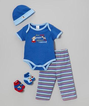 Baby Essentials Blue 'My Relatives' Five-Piece Layette Set - Infant