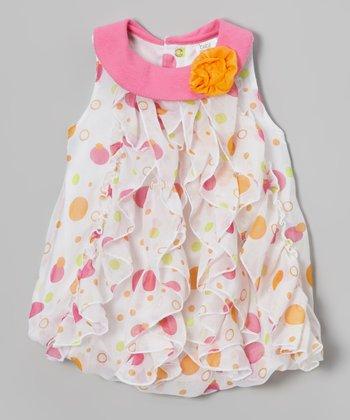Baby Essentials Pink Polka Dot Ruffle Yolk Dress - Infant