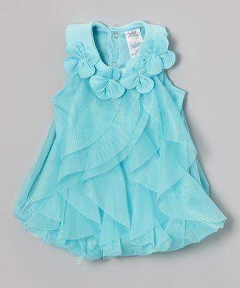 Baby Essentials Aqua Floral Ruffle Dress - Infant
