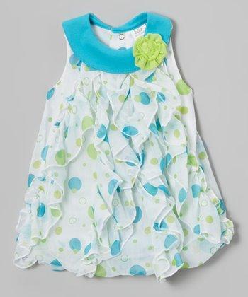 Baby Essentials Aqua Polka Dot Ruffle Dress - Infant