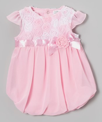 Baby Essentials Pink Rosette Bubble Dress - Infant