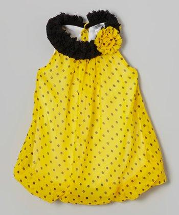 Baby Essentials Yellow & Black Polka Dot Yolk Dress - Infant