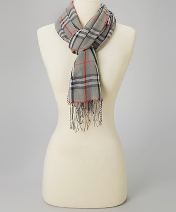 Gray & Red Plaid Scarf