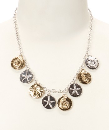 Silver & Gold Stamped Sea Life Charm Necklace