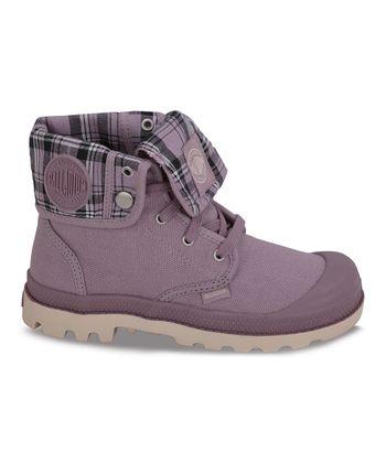 Palladium Elderberry & Ecru Baggy Leather Fold-Over Boot
