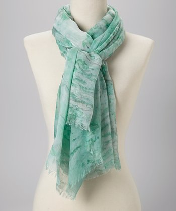 Aqua Watercolor Scarf