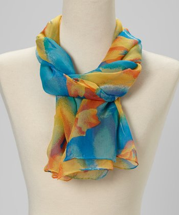 Blue Watercolor Floral Silk Scarf