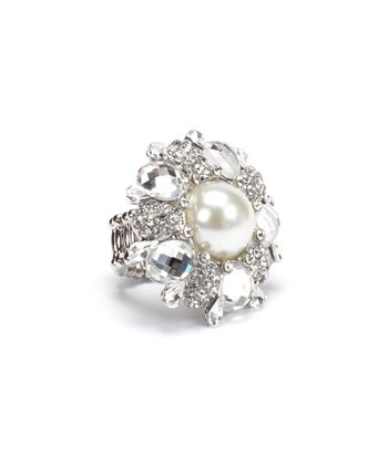 Pearl & Silver Sparkle Stretch Ring