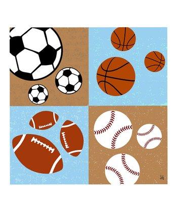 Tan & Light Blue Sport Ball Canvas