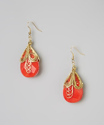 Gold & Coral Madelyn Earrings