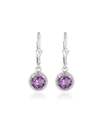 Amethyst & Diamond Round Lever-Back Drop Earrings