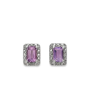 Amethyst & Diamond Rectangle Stud Earrings