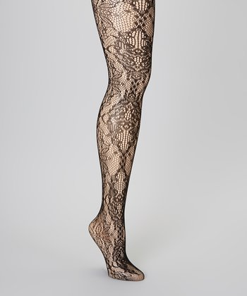 Black Floral Lace Tights - Women