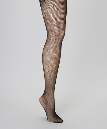 Black Pin Dot Fishnet Tights - Women