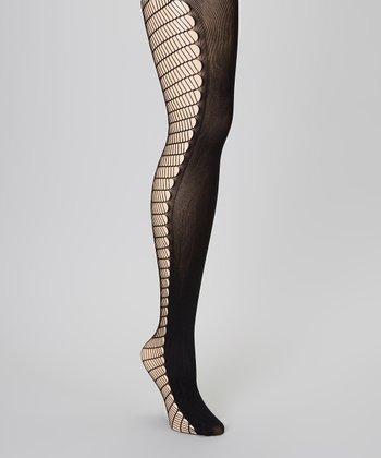 Black Open Opaque Tights - Women