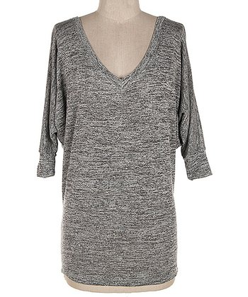 Heather Gray V-Neck Dolman Tee