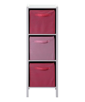 Pink & White Tall Storage Cabinet