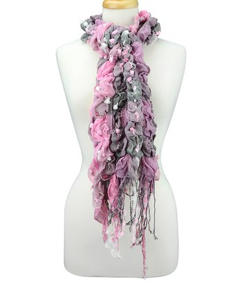 Dusty Rose & Gray Ruffle Scarf