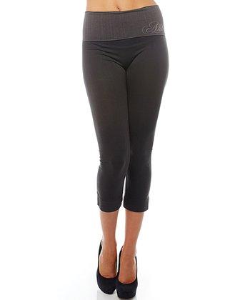 Black Ahh Lifestyle Fold-Over Capri Leggings - Women & Plus