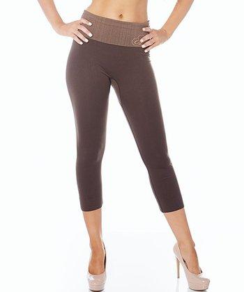 Mocha Ahh Lifestyle Fold-Over Capri Leggings - Women & Plus