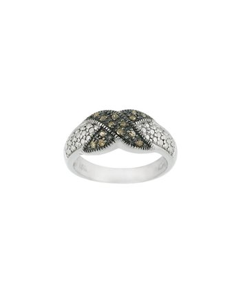 Brown Diamond & Sterling Silver Crisscross Ring