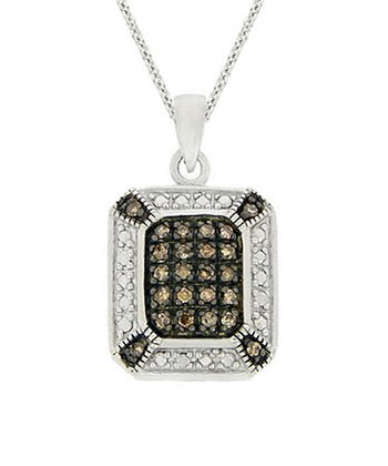 Champagne Diamond & Sterling Silver Frame Pendant Necklace