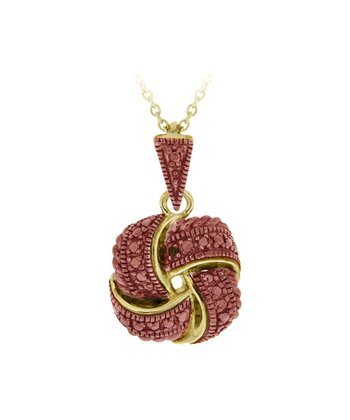 Champagne Diamond & Gold Love Knot Pendant Necklace