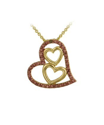 Champagne Diamond & Gold Triple Heart Pendant Necklace